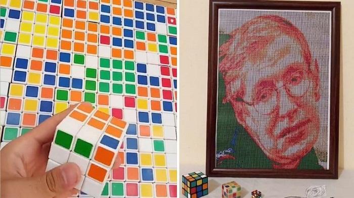 Новое направление в живописи: художники создают удивительные портреты людей из кубиков Рубика (фото)