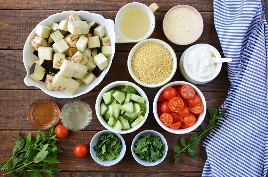 Жареные баклажаны с кускусом   вкусный и здоровый вегетарианский обед. Рецепт приготовления