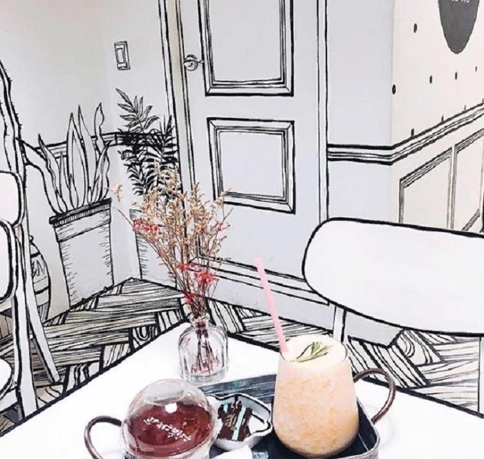 Это не комикс, а настоящее кафе в Сеуле: оптические иллюзии внутри помещения, которые поражают и восхищают