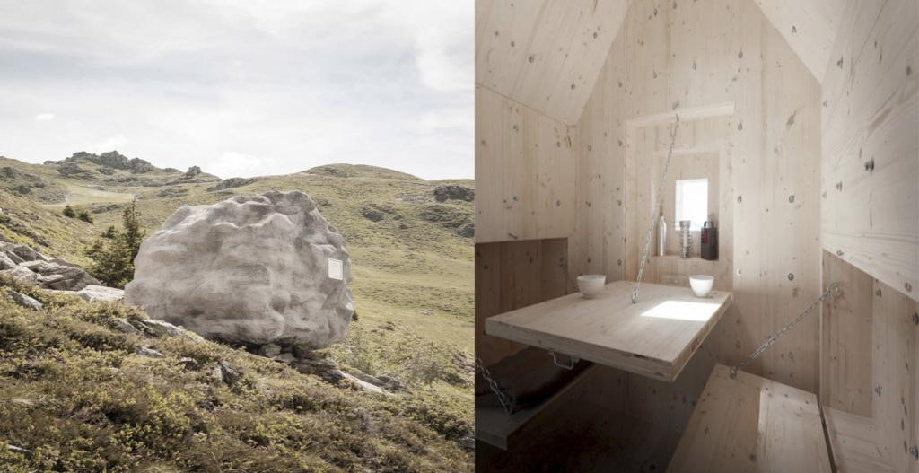 С виду огромный камень в Альпах, а на самом деле   небольшое помещение