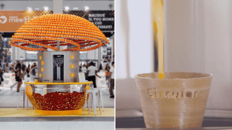 Безотходное производство: итальянские инженеры и дизайнеры создали машину, которая делает биоразлагаемые стаканчики для сока из апельсиновой кожуры