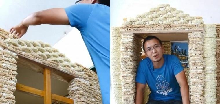 Пользователи раскритиковали идею мужчины, который построил за 4 дня домик из лапши быстрого приготовления