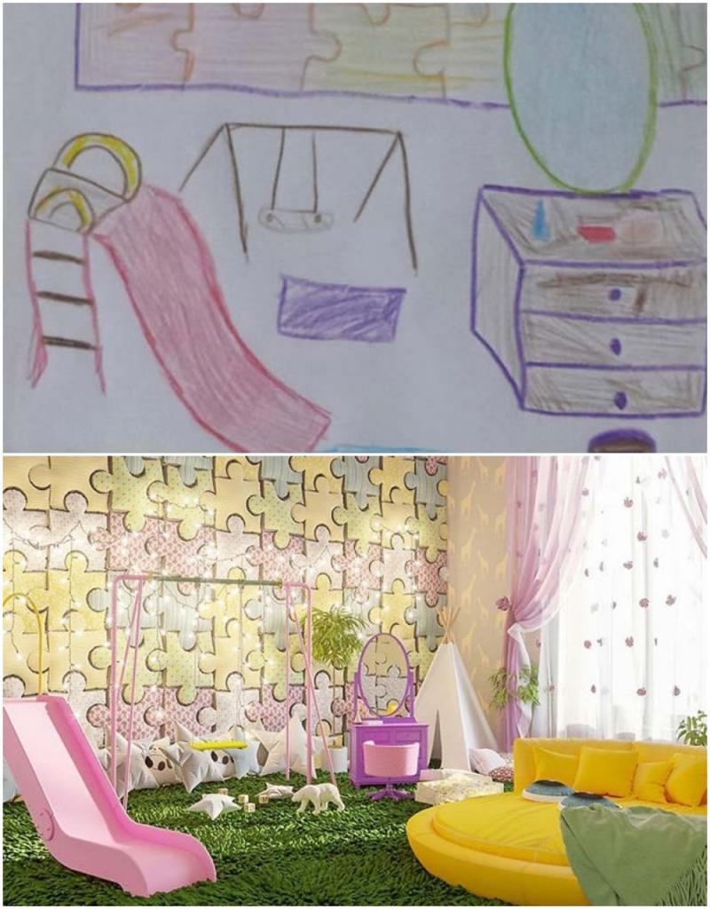 Фантастика: детей попросили нарисовать комнату своей мечты, а затем дизайнеры сделали ремонт по их рисункам