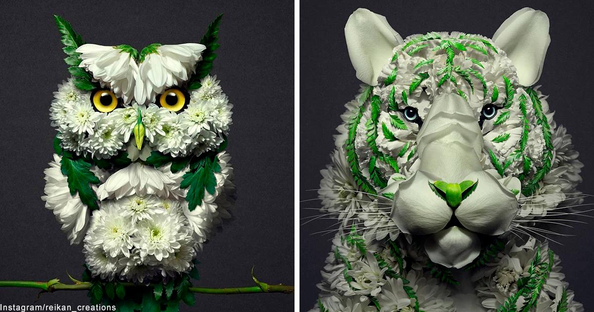 Художник превращает цветы в потрясающие скульптуры животных и насекомых