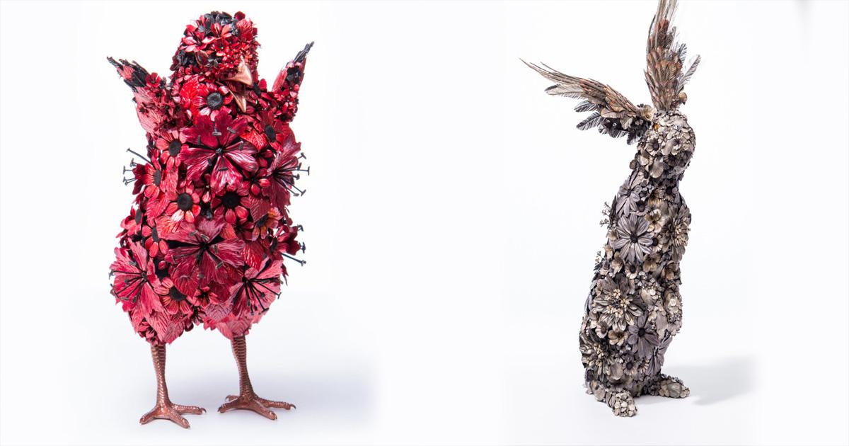 Чтобы сделать эти ″скульптуры″, японский художник использует только листья металла