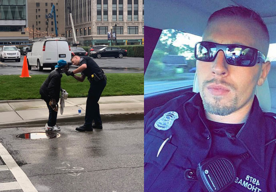 Полицейский увидел, как бездомный бреется над лужей. Но вместо того, чтобы арестовать, он помог бедняге привести себя в порядок