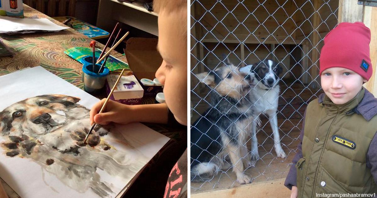9 летний русский художник ″продает″ свои лучшие картины приютам. Вот почему