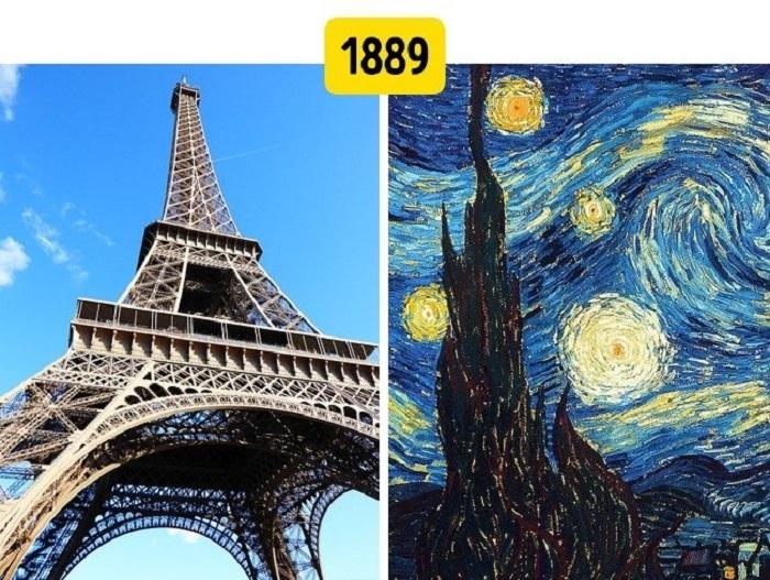 Картина  Звездная ночь  увидела свет одновременно с открытием Эйфелевой башни. Исторические события, которые произошли одновременно