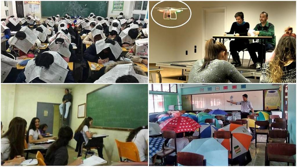 Газеты на голове, зонтики и другие неординарные методы, которыми пользуются учителя, чтобы предотвратить списывание