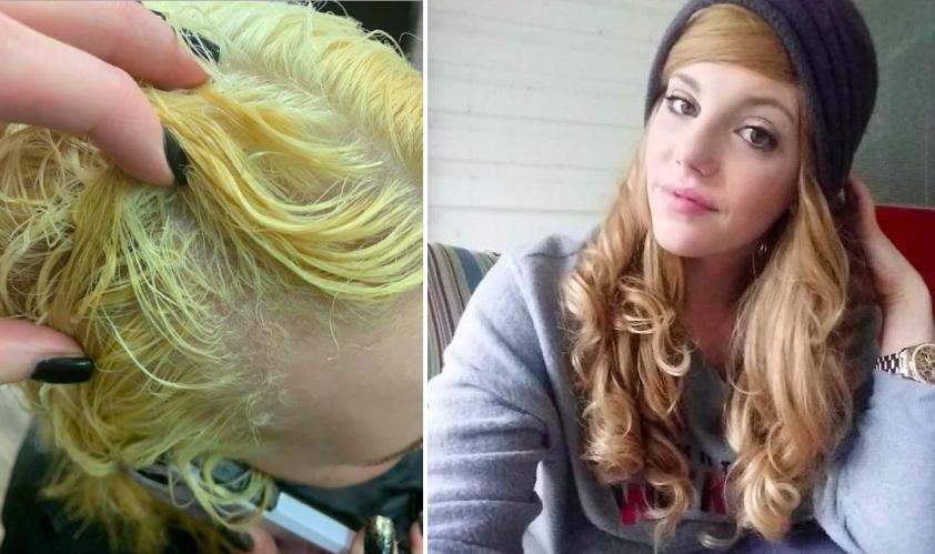 Девушка очень хотела стать блондинкой, но смена окончилась потерей волос. Помочь смогла только подруга-парикмахер
