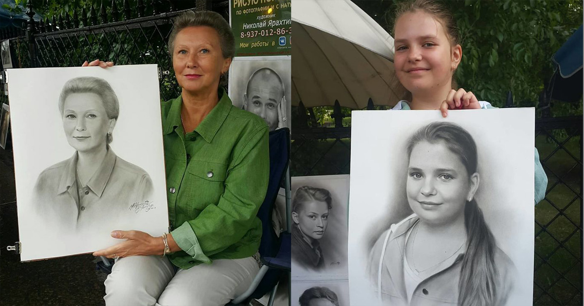Русский художник рисует реалистичные портреты за час прямо на улице