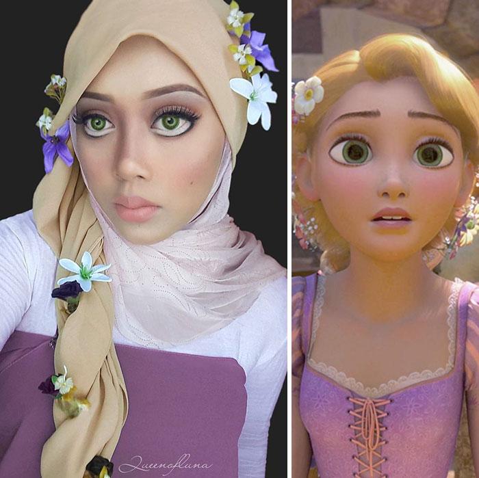 Малазийский визажист перевоплощается в героев мультфильмов, используя хиджаб в качестве волос (фото)