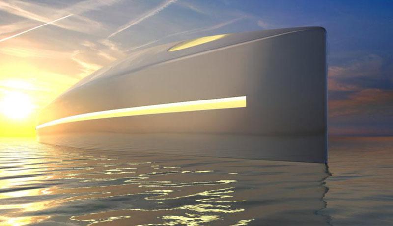 Яхта высотой 118 метров с вертолетной площадкой, подводным салоном, выдвижной рубкой и космическим дизайном обещает совершить переворот в яхтостроении
