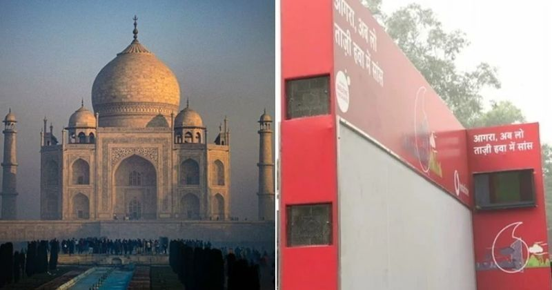 Мобильные фургоны для очистки воздуха были установлены у Тадж-Махала в Индии, так как загрязнение достигло рекордного уровня