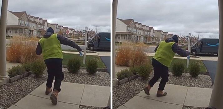 Курьер Amazon удивился, когда хозяин дома оставил ему лакомства: на его реакцию можно смотреть вечно (видео)