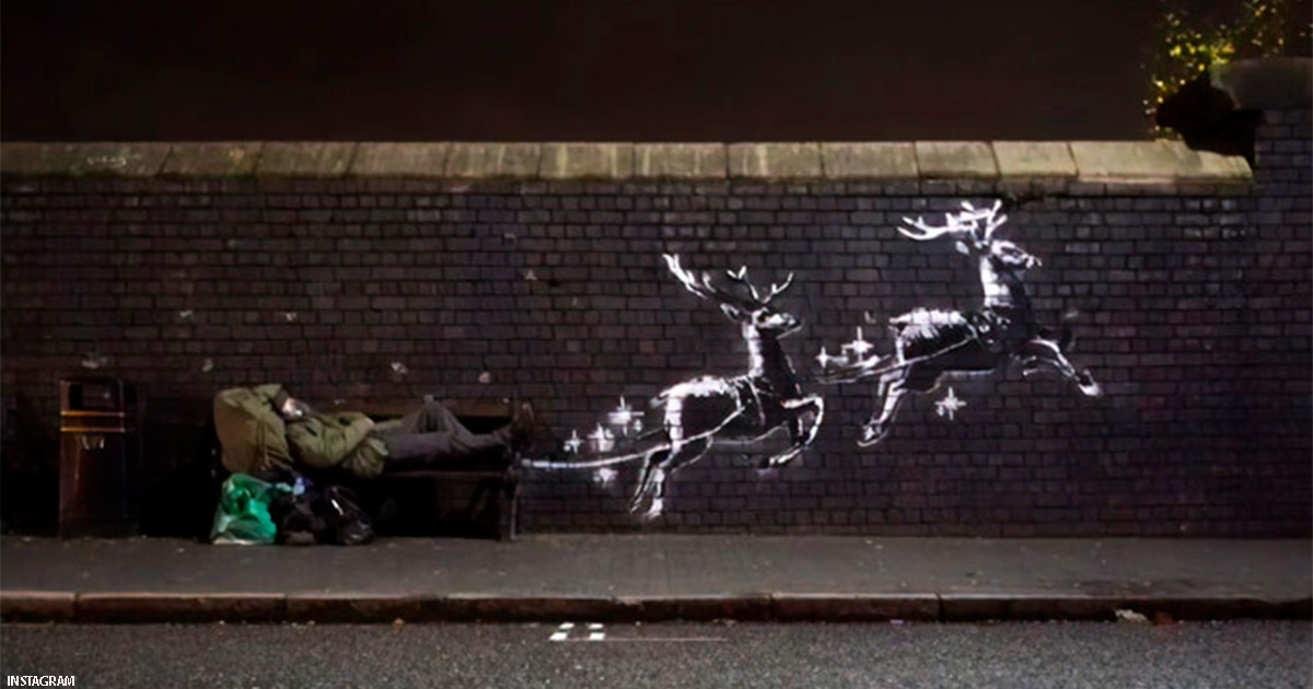 Бэнкси сделал новогодний ″рисунок″: привлек внимание к бездомным Англии