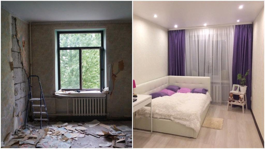 Теперь в этой комнате находится стильная спальня, оформленная в сочетании белого и фиолетового. Мне кажется, получилось очень стильно и красиво