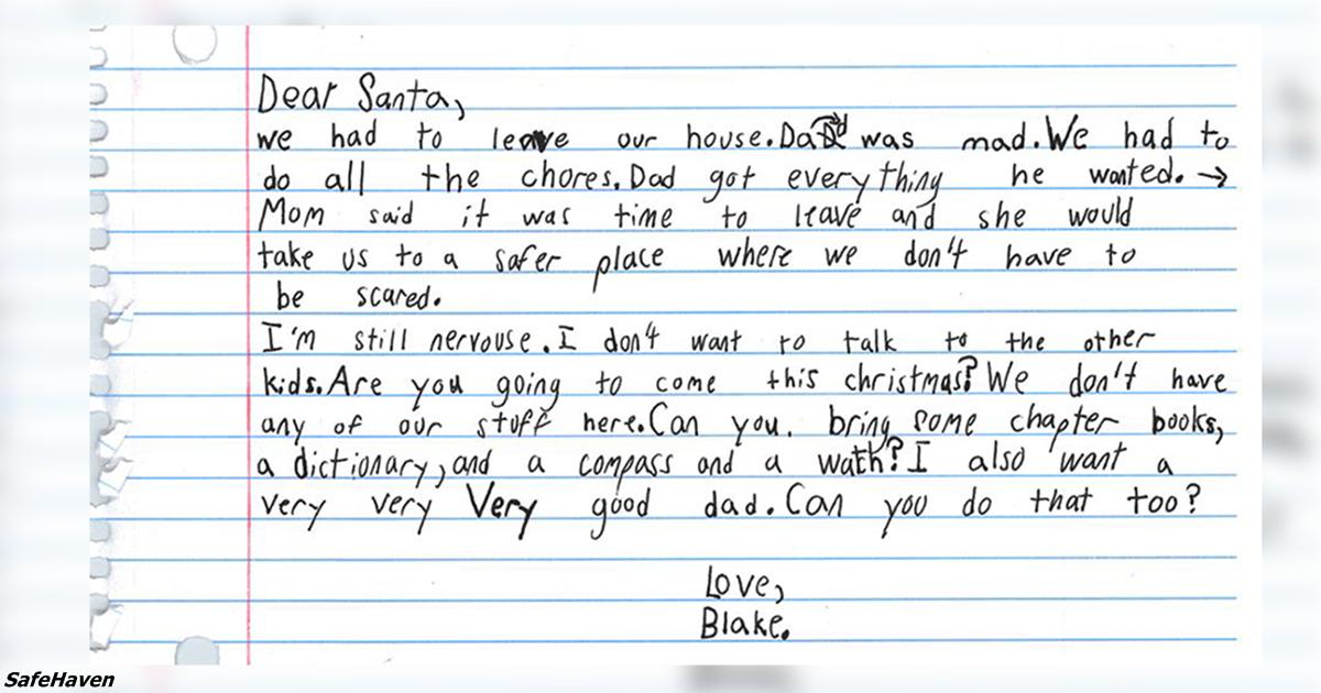 7-летний мальчик из приюта для жертв насилия в семье пишет слёзное письмо Деду Морозу