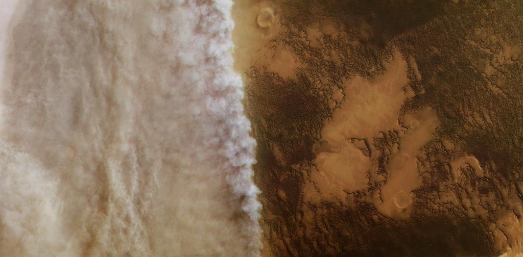 Похоже на земной шторм! Необычное явление - пыльные бури на Марсе
