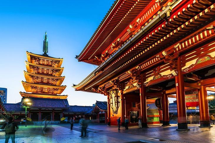 Самые популярные туристические достопримечательности в Токио: изображения храма Сэнсо-дзи используются во многих источниках