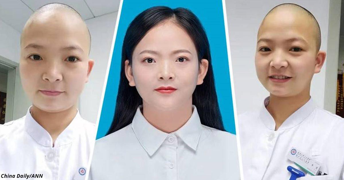 Медсестра из Уханя побрила голову, чтобы справиться с вирусом