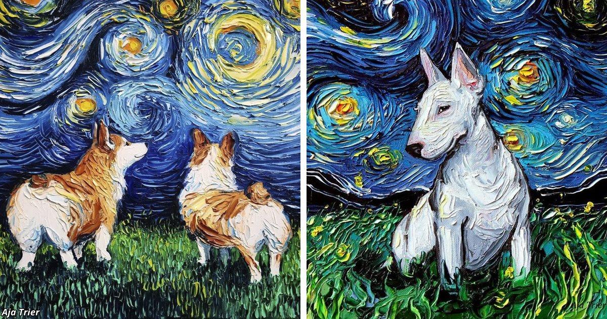 30 раз, когда кто-то добавил собак на «Звёздную ночь» Ван Гога
