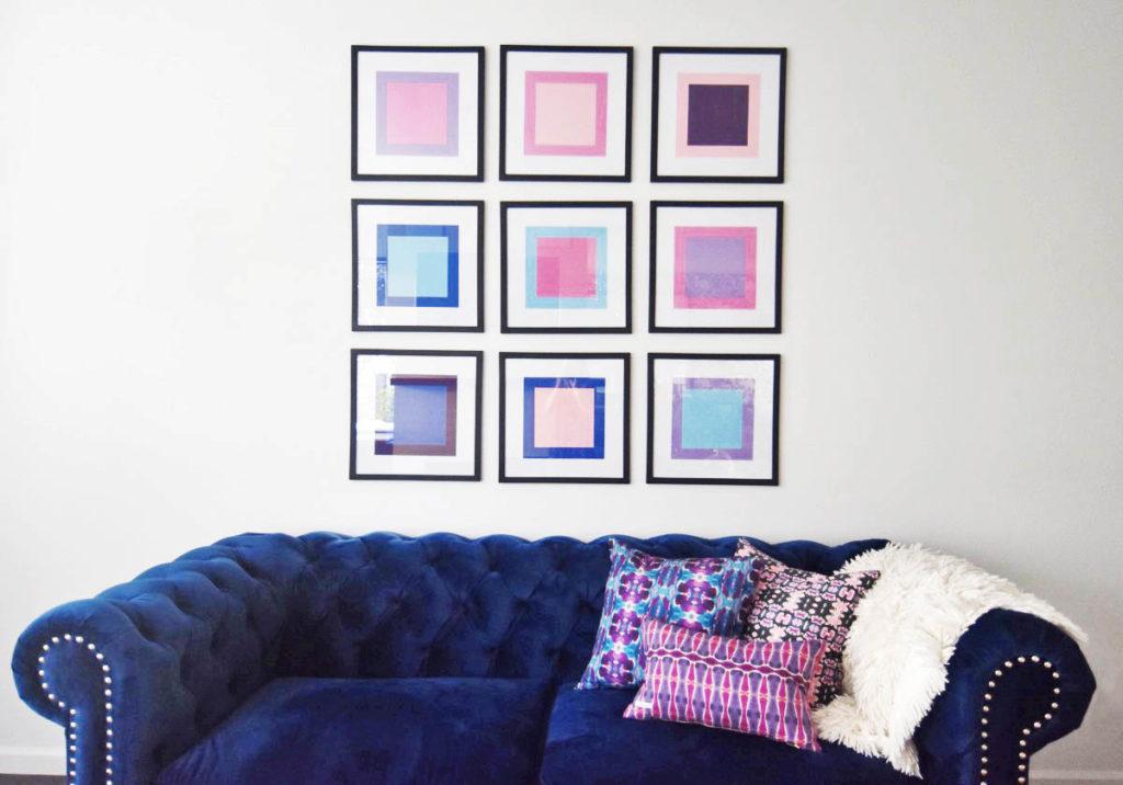 Легкий способ украсить свободную стену: делаем красивую композицию из разноцветных квадратов
