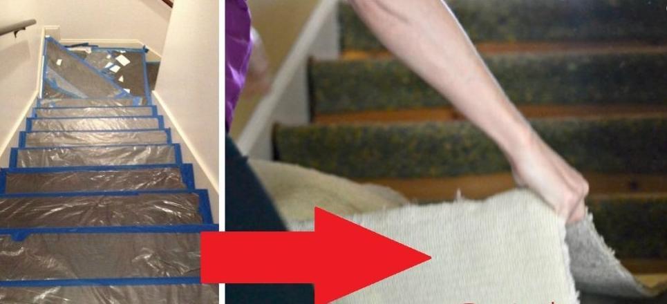 Пока муж был в командировке, я сняла с лестницы потрепанный ковролин и с помощью старой плитки превратила ее в произведение искусства