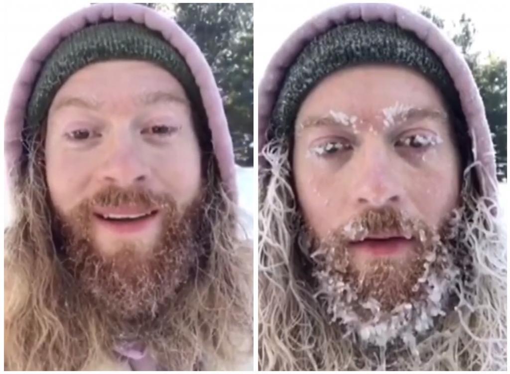 Мужчина решил проверить, как быстро замерзнет борода, и провел 2 часа на морозе (видео)