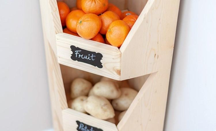 Отличное решение для хранения фруктов и овощей: делаем угловые ящики из натурального дерева
