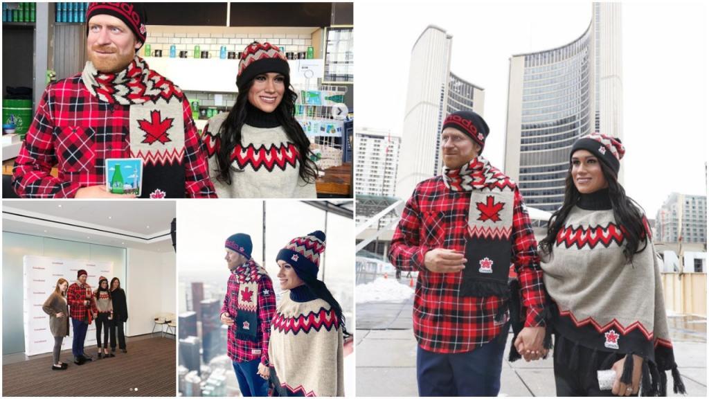 Странная страница в  Инстаграме : восковые фигуры принца Гарри и Меган Маркл в шапочках и шарфиках путешествуют по Торонто