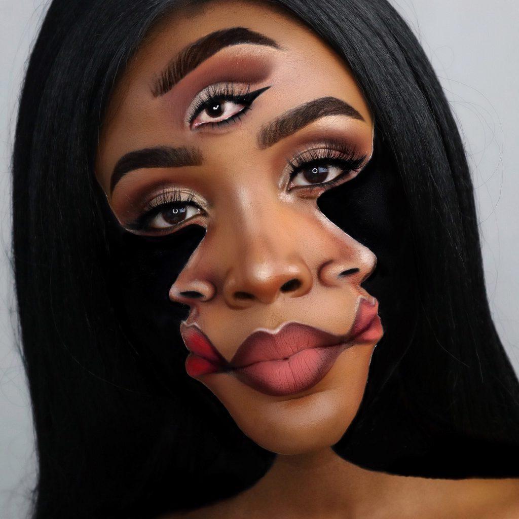 19-летняя художница превращает свое лицо в удивительные оптические иллюзии