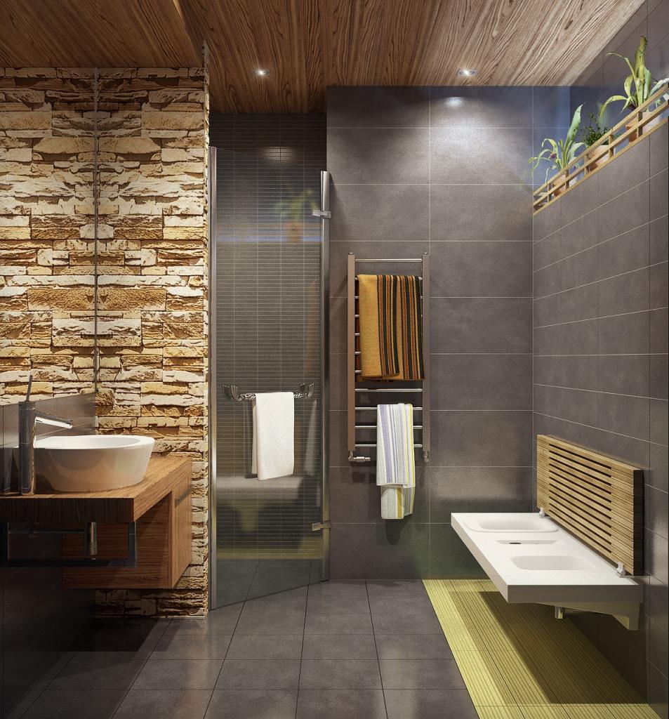 Натуральное дерево или игра на контрасте: как стильно оформить потолок в ванной комнате