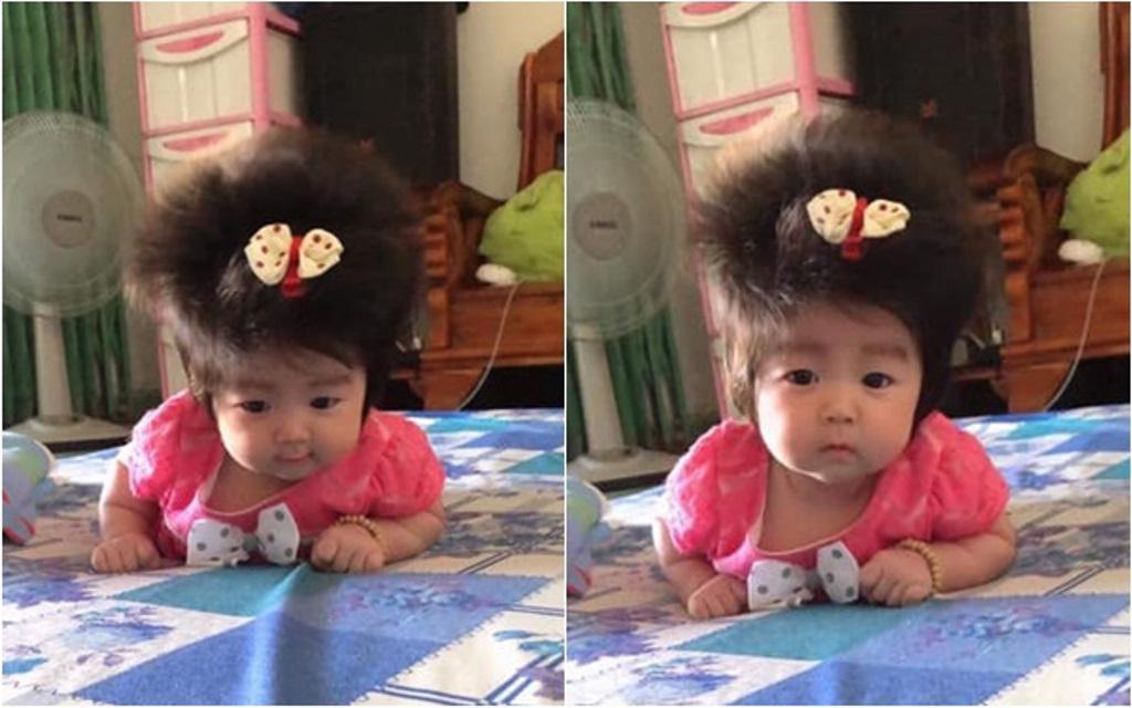 Чем дальше, тем пушистее: 3-месячная девочка покорила Сеть густыми волосами
