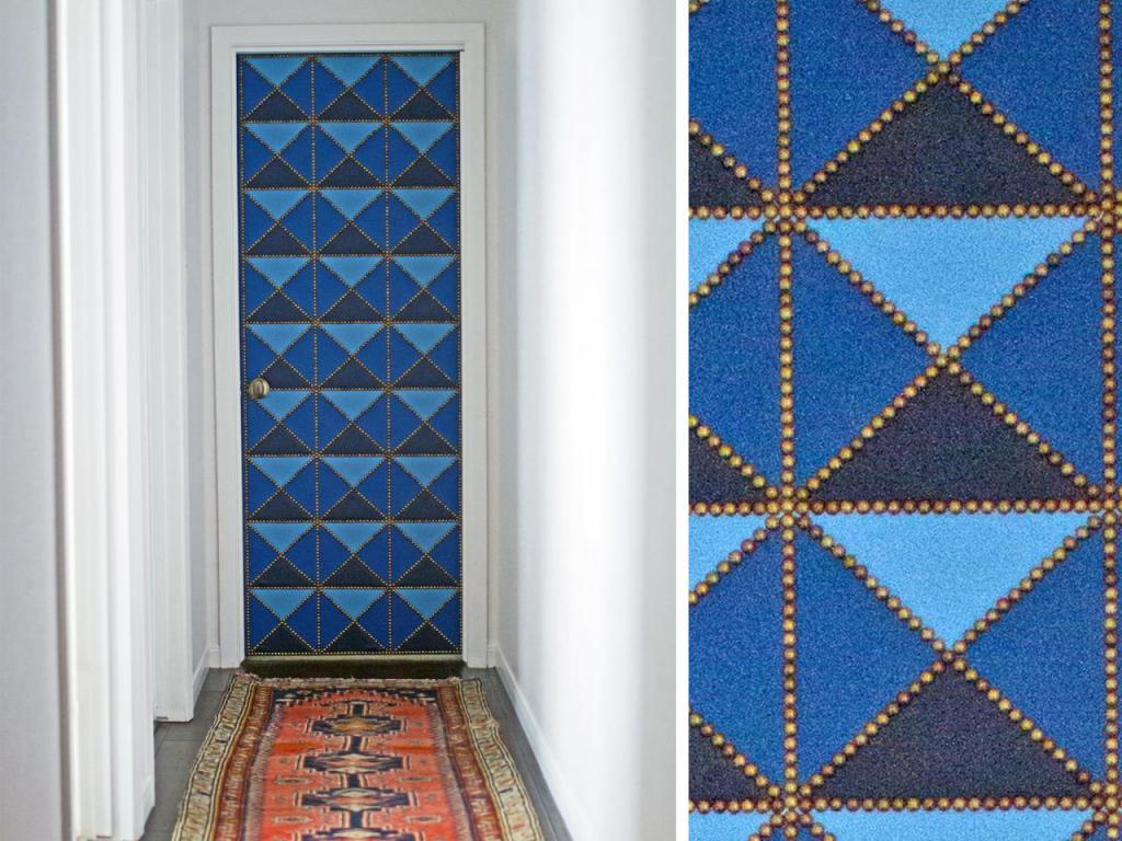 Как самостоятельно сделать на двери мягкую обивку с красивым геометрическим рисунком