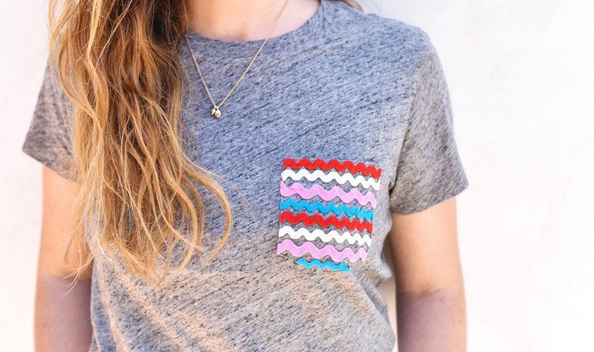 Украсила карман футболки стильной аппликацией: простой мастер-класс