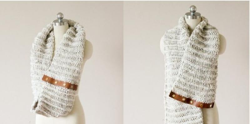 Подруги спрашивают, сама ли я сделала модный шарф с кожаной вставкой. Даю мастер-класс