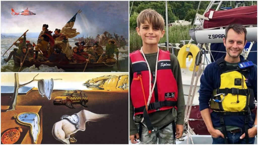 Папа учит своего 10-летнего сына добру, добавляя спасательные экипажи к известным картинам с помощью