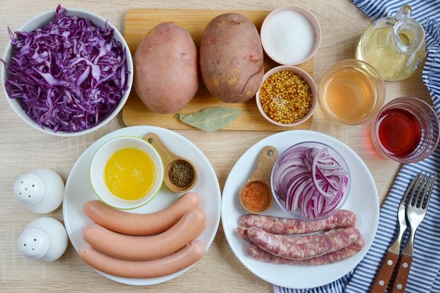 Немецкий рецепт: картошка с колбасками, сосисками и красной капустой. Вкусно, пальчики оближешь!