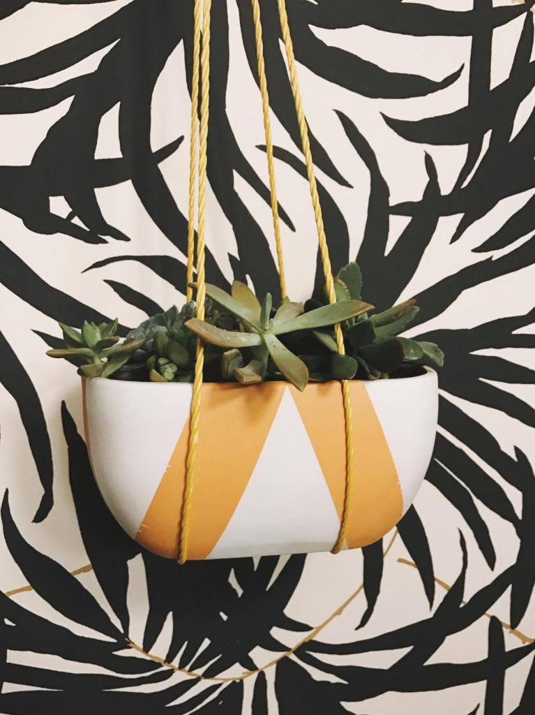 Из обычного цветочного горшка я сделала очень красивый подвесной: он экономит место на подоконнике и украшает дом
