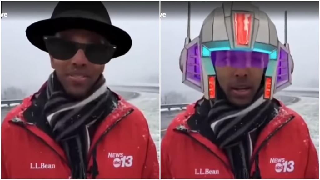 Репортер Джастин Хинтон в «Фейсбуке» сообщил о снегопаде, но случайно включил фильтры видео: получилось весело