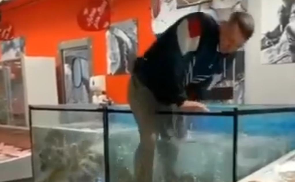 После неудачного предложения руки и сердца парню пришлось нырнуть в аквариум с живой рыбой (видео)