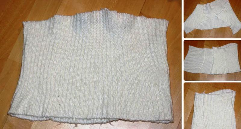 Как сделать зимнюю шапочку с помпоном из старого свитера: шаг за шагом с фото