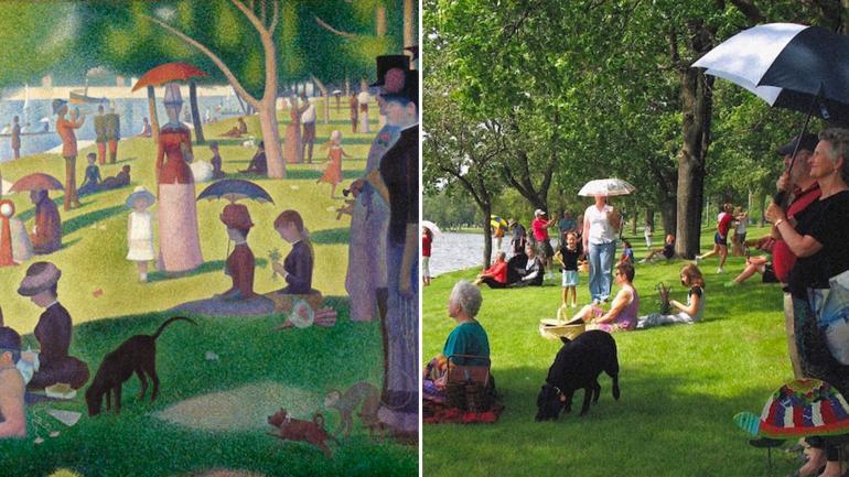 Воскресный день на острове Гранд Жатт : поклонники творчества Жоржа Сера воссоздали сюжет его картины в реальности (фото)