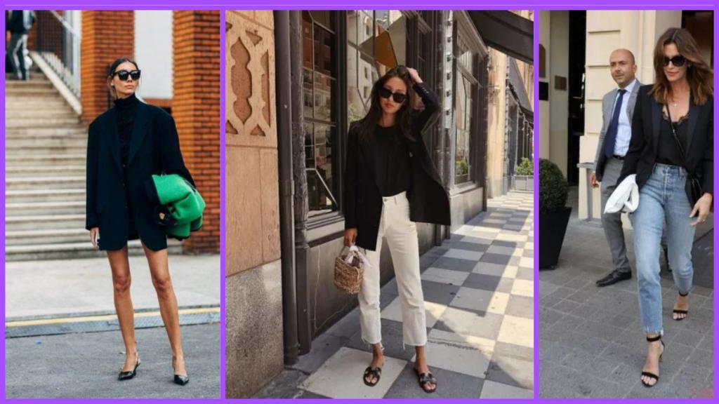 Горячий тренд - 2020 - черный пиджак или куртка. Носят и с романтическими платьями, и с шортами (фото)