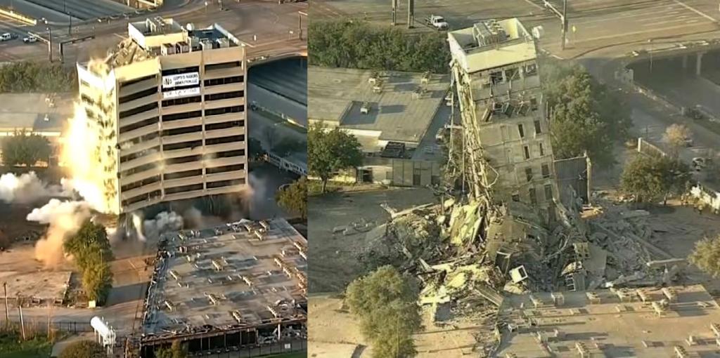 Строители попытались снести небоскреб в Далласе, но не ожидали, что рухнет не все здание