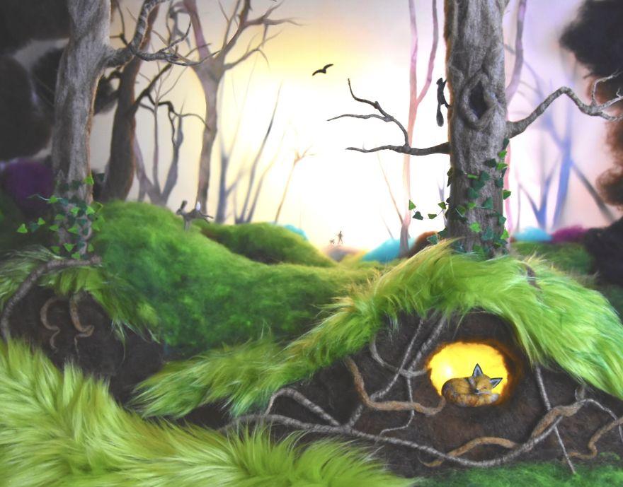 Словно живые: художница создает удивительные композиции из валянных миниатюр сказочных животных и не только