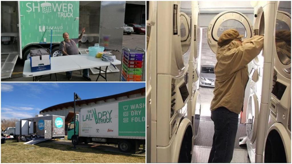 Денвер: организация создала мобильные душевые кабинки и прачечную для бездомных людей
