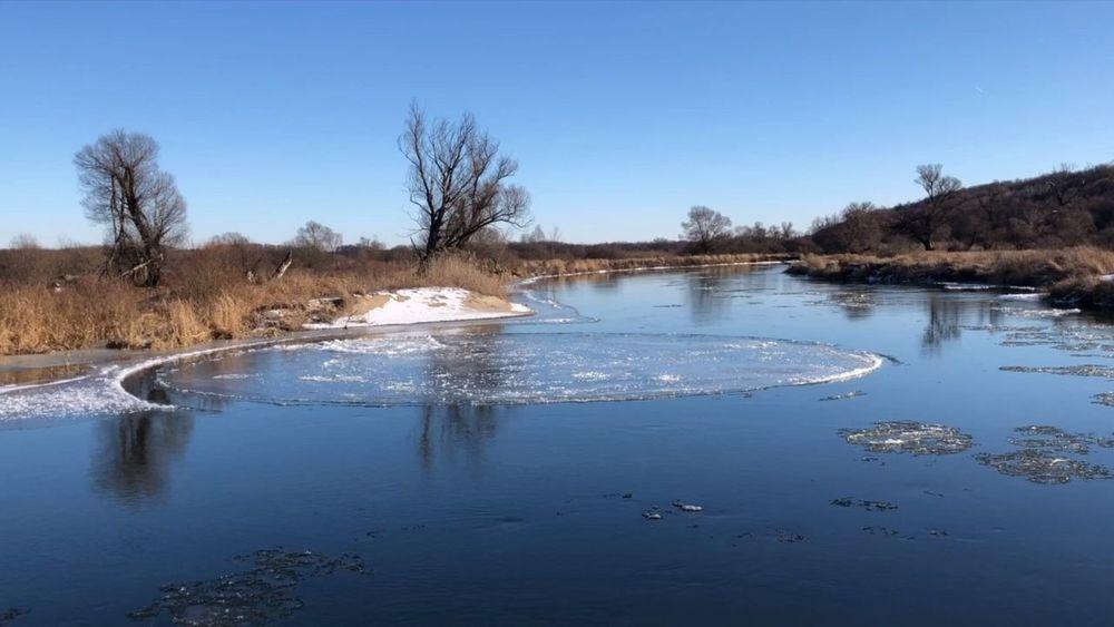 Вращающийся ледовый диск: удивительное природное явление на реке Воронеж попало на видео