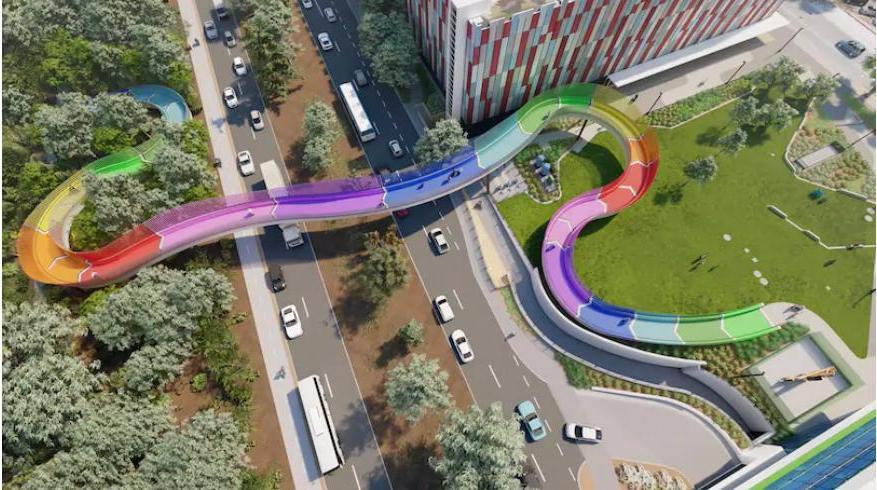 Австралия: радужный пешеходный мост соединит детскую больницу с зеленым парком
